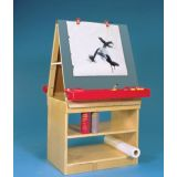 Double-Sided Tabletop Chalkboard and Art Station - with Stand