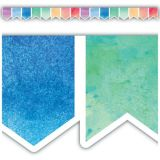 Pennants Die-Cut Watercolor Border Trim