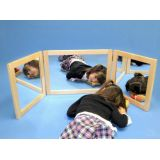 Framed Wide Mirror 3 Section Folding
