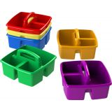 Storex 3 Compartment Supplies Caddy, 9-1/4 x 9-1/4 x 5-1/4 in, Assorted Colors