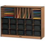 Sproutz® Sectional Cubbie-Tray Mobile Unit - with Colored Trays - Black