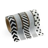 Paper Black & White Patterned Washi Tape Set, 5 rolls/Pack