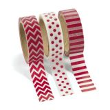 Paper Red Washi Tape Set, 3 rolls/Pack