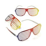 Plastic Rainbow Shutter Shading Glasses, 12/Pack