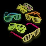 Plastic Bright Color Glow-in-the-Dark Shutter Shading Sunglasses, 12/Pack