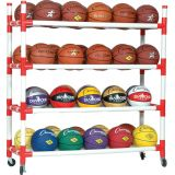 40 Basketball Cart with Upright Bars and Heavy Duty Casters, White, 54Lx19Wx52H