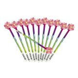 Wooden Flower Eraser Topper Pencils, 12/Pack