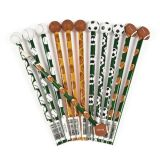 Wooden Sports Pencils with Ball Eraser, 12/Pack