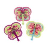 Paper Colorful Butterfly-Shaped Folding Fans, 12/Pack
