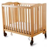 Foldaway Portable Crib, Natural Finish, Casters & 3 Foam Mattress Included, 24 x 38.