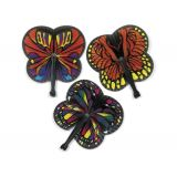 Paper Monarch Butterfly-Shaped Folding Fans, 12/Pack