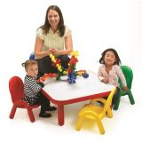 BASELINE SQUARE TABLE & CHAIR SET, 30X30X12 - CANDY APPLE RED W/ ASSORTED CHAIRS