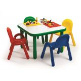 BASELINE SQUARE TABLE & CHAIR SET, 30X30X20- SHAMROCK GREEN w/ ASSORTED CHAIRS