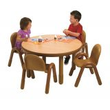 BASELINE ROUND TABLE & CHAIR SET, 36DIA X 20- Natural Wood w/ Caramel Chairs