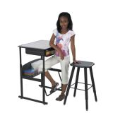 Alpha Better Desk, 28 x 20 with Book Box, Gray