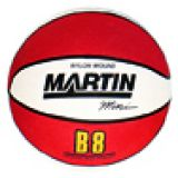 Basketball, Mini 7 diameter, rubber, nylon wound, red/white