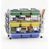Deluxe Book Browser Cart with Book Displays & 6 Divided & 3 Open Tubs