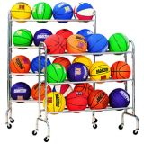 Ball Racks, portable, heavy plated steel tubing, extra wide base prevents tipping, holds 12 balls on 3 tiers