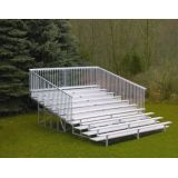 Outdoor 10 Row Bleachers, 15' Aluminum/Steel with Guard Rail