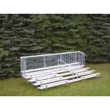 Outdoor 5 Row Bleachers, 21' Aluminum/Steel with Guard Rail and Aisle, Includes Handrail