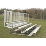 Outdoor 5 Row Bleachers, 15' Aluminum/Steel with Guard Rail