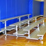 Indoor 3 Row Bleachers, 21' Preferred Tip & Roll, All Alum, Double Foot Planks