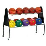 15 Ball Cart with Triangle End Frames and Wide Base, On Casters, Black, 51L x 18W x 38H
