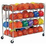 48 Ball Double Ball Rack with Heavy Duty Casters, 1 Steel Tubing, 55.5L x 24W x 46.5H