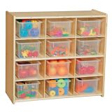 Contender™ Baltic Birch 12-Cubby Storage Unit w/ Clear Tubs - Assembled