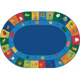 Learning Blocks Rug, 8'3 x 11'8 Oval, Primary