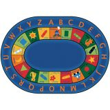 Bilingual Circletime Carpet, 6'9 x 9'5 Oval