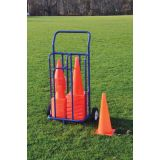 Cone cart with steel blue frame, holds up to 130 standard cones