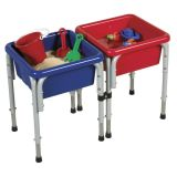 2 Station Square Sand & Water Table with Lids, 30 x 14 3⁄4