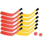 Scooter Board Hockey Set Including 12 Red/Yellow Sticks, Ball, 4 Puck