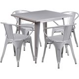 31.5'' Square Silver Metal Indoor Table Set with 4 Arm Chairs