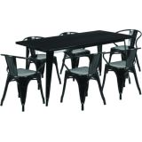 31.5'' x 63'' Rectangular Black Metal Indoor Table Set with 6 Arm Chairs