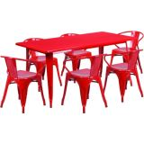 31.5'' x 63'' Rectangular Red Metal Indoor Table Set with 6 Arm Chairs