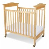 Biltmore Compact Size Fixed Side Crib with Natural Finish, Casters & 3 Foam Mattress Included 38 x 24.