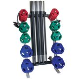 Cardio Barbell Pack, Includes 1-Rack, 10-55 Straight Bars, 20-1 Spring Collars, 20-2.5Lb Plates, 20-5Lb Plates, 20-10Lb Plates