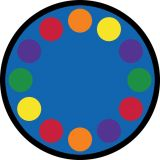 Lots Of Dots Rug, 7'7 Border Round (12 spaces), Primary
