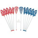 Soft Lacrosse Set of (12) 40 Sticks and 6 Balls, Indoor/Outdoor, Red-Blue