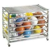 Lockable Ball Storage Locker with 1 Galvanized Steel Tubing, Holds up to 30 Balls, On Casters, 42L x 24W x 28H