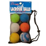 Lacrosse Ball Set of 6 Colored Balls in Mesh Bag