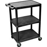 18'' x 24'' Utility Cart 3 Flat Shelves 32.5'' H Black