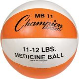 11-12lb. Leather Medicine Ball, Orange/White