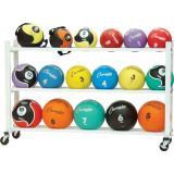 Deluxe Medicine Ball Cart, Holds 20 Balls,53Lx9.5Wx35H