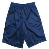 Adult Mesh shorts, 9 inseam, polyester, elastic waistband and drawstring, size small, navy