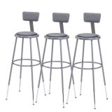 Adjustable Stool with Padded Seat and Backrest, Gray, 31-39