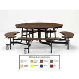 60 Round Fixed Cafeteria Bench-Table, MDF with ProtectEdge & Chrome Frame