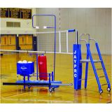 3 Deluxe Featherlite Volleyball System Package Including Featherlite Collegiate Net System, Folding Referee Stand and Padding, Single Net Keeper, Hammock Drill Cart, Cable/Buckle Covers, Volleyball Equipment Carrier, The Spiker, and more.